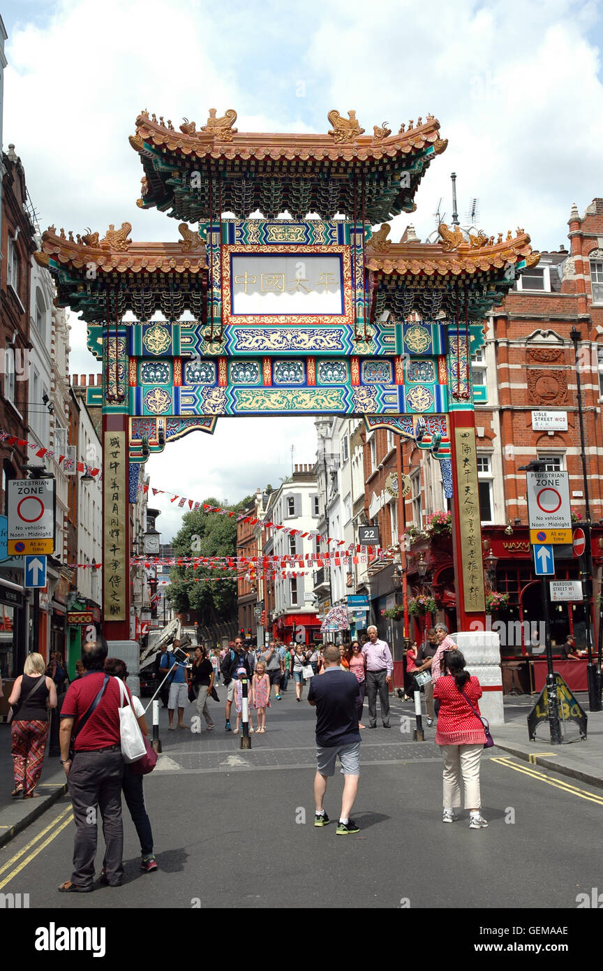 London, UK, 26/07/2016, A new fourth gate for China Town in Wardour street Soho in the Ching Dynasty design. - Stock Image