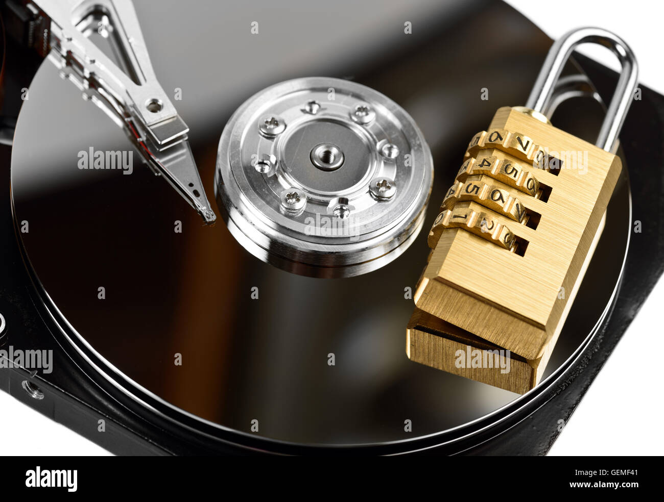 data protection on Hard drive with lock at white - Stock Image