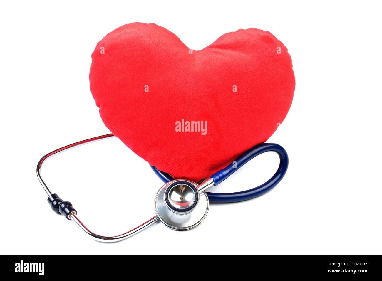 Heart with a Stethoscope isolated on white - Stock Image