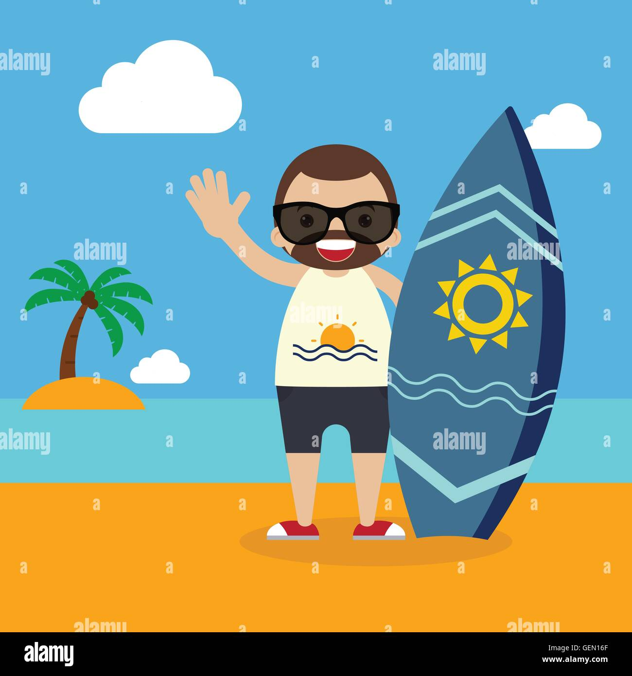 Surfer with surfboard on summer vacation flat design vector illustration - Stock Image