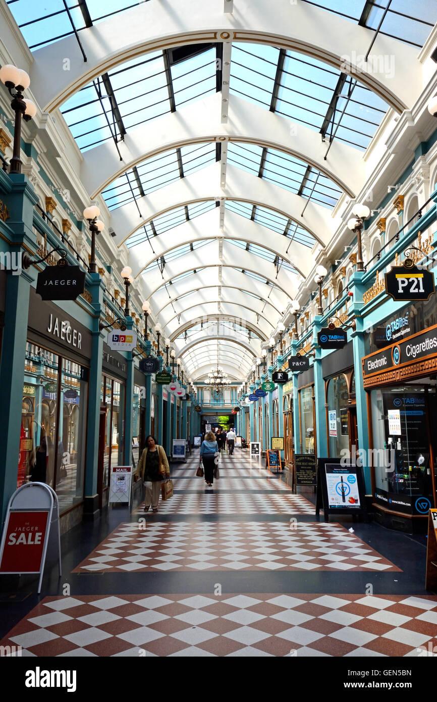 Shoppers walking through the Burlington Arcade, Birmingham, England, UK, Western Europe. - Stock Image