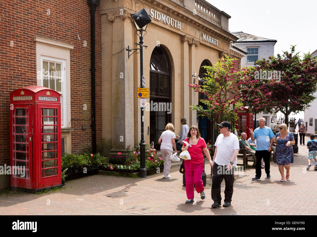 UK, England, Devon, Sidmouth, Old Fore Street, Market Square, Sidmouth Market building - Stock Image