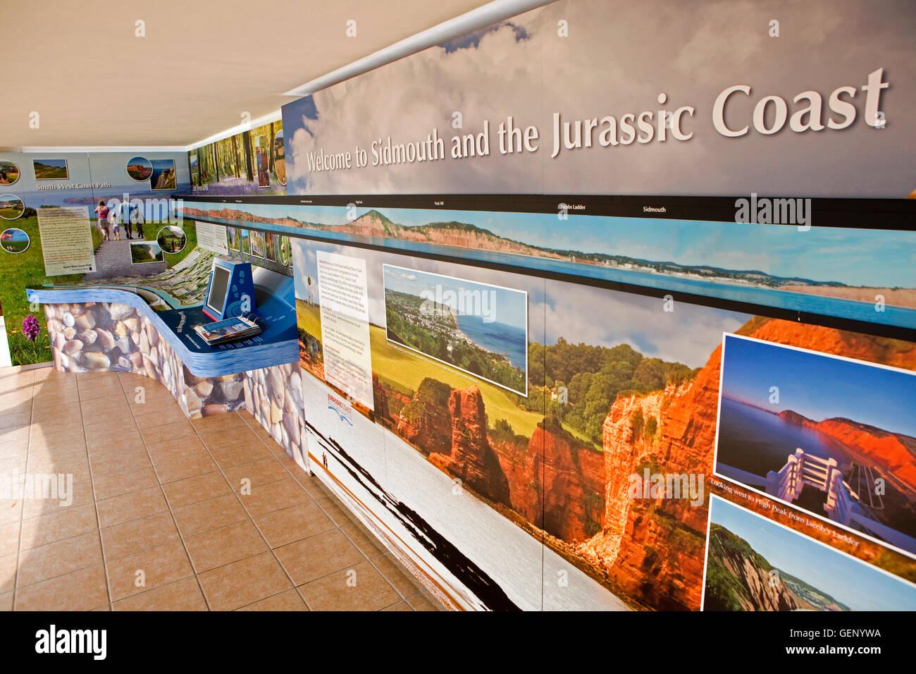 UK, England, Devon, Sidmouth, Peak Hill Road, Jurassic Coast interpretation centre exhibition display - Stock Image