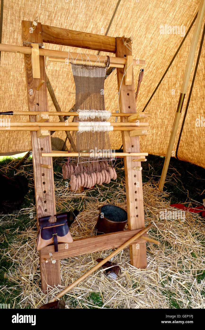 Warp-weighted medieval loom. A replica. - Stock Image