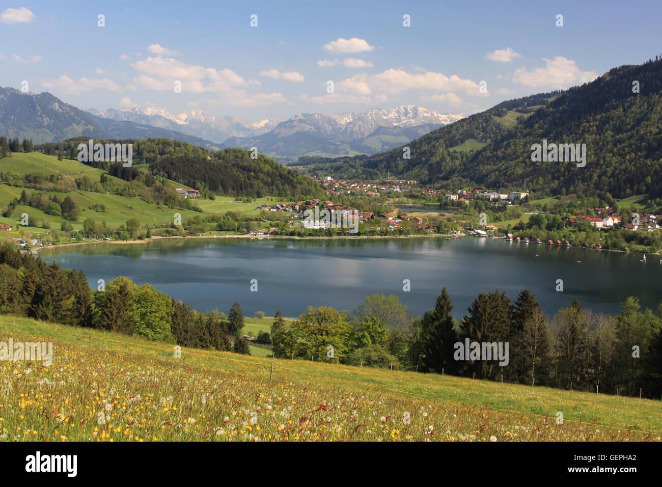 geography / travel, Germany, Bavaria, Allgaeu, Upper Allgaeu, Grosser Alpsee near Immenstadt, Allgaeu Alps,, No - Stock Image