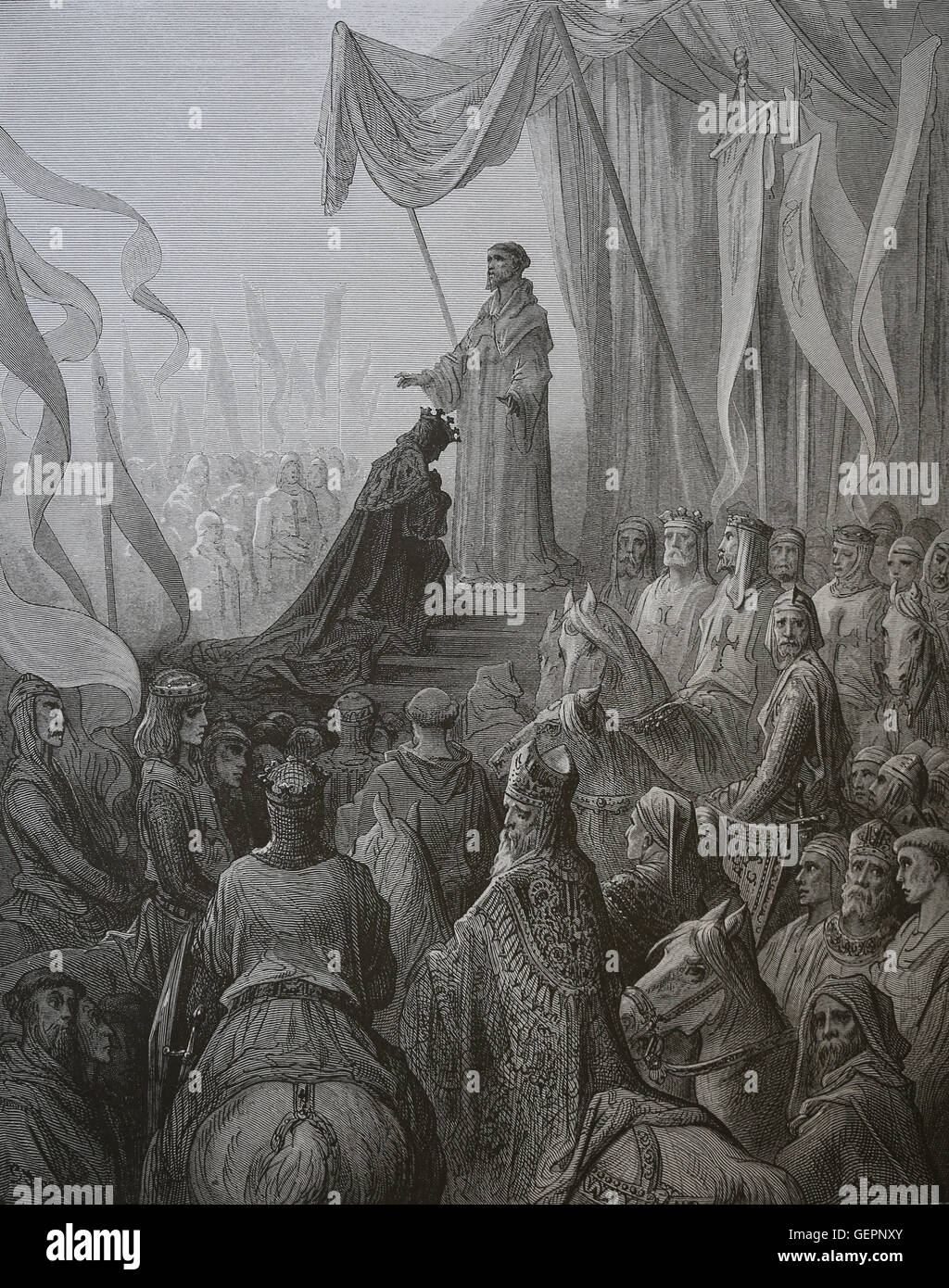Second Crusade (1147-1149). Louis VII receiving the Cross from St. Bernard  of Clairvaux. Engraving by Gustave Dore, 19th century