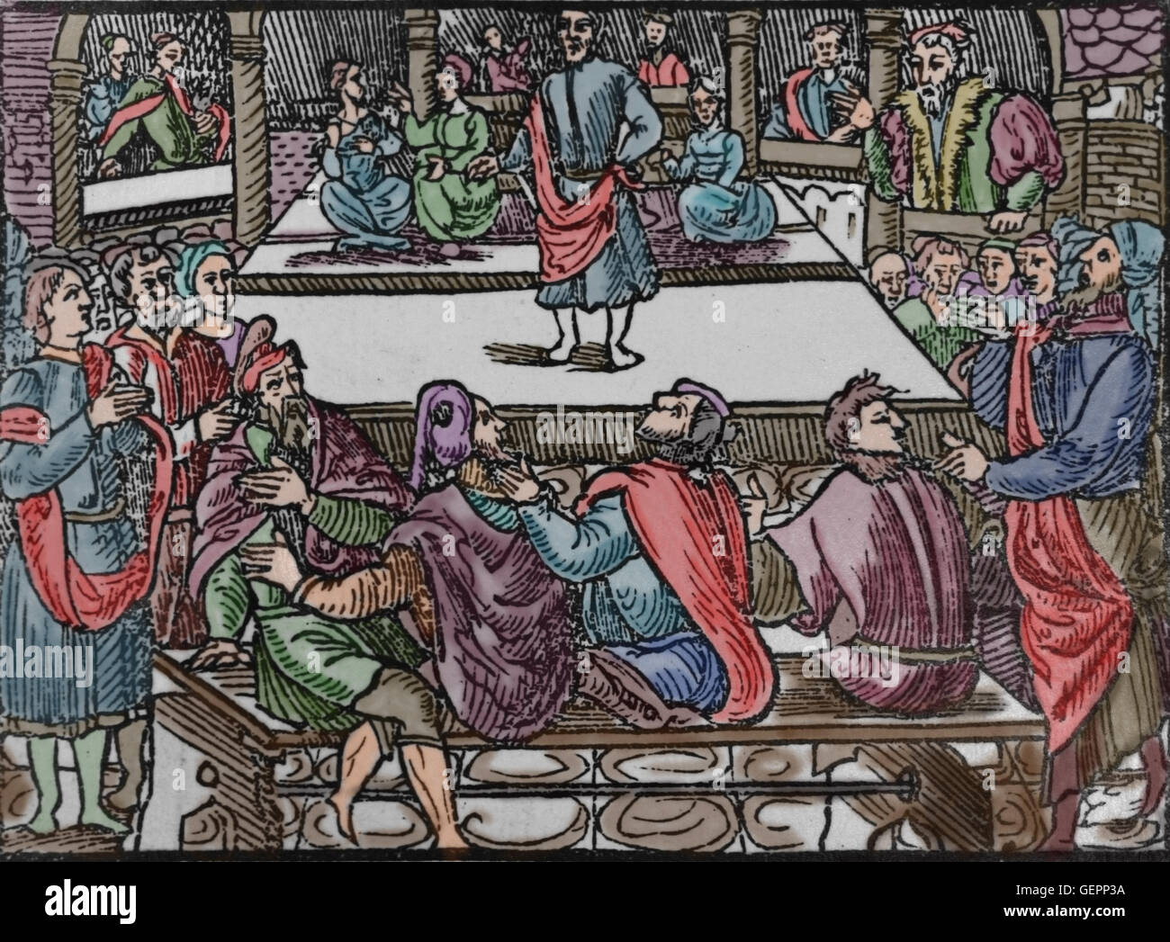 Latin literature. Theatre performance in France (16th century) imitating classical times. Colored engraving. - Stock Image