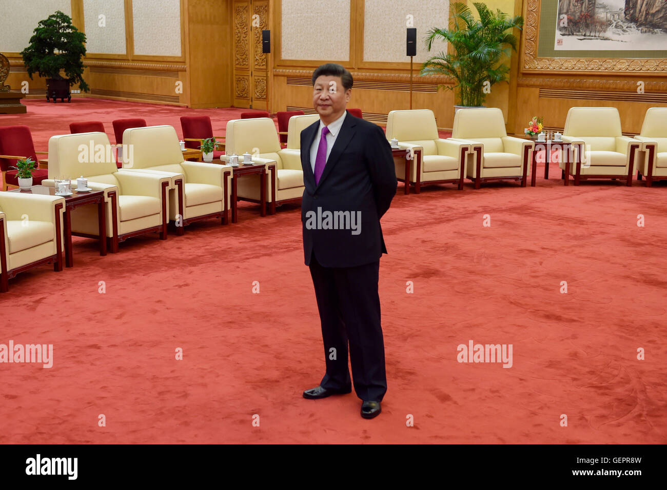 Chinese President Xi Awaits the Arrival of Secretaries Kerry and Lew for Their Bilateral Meeting Amid the U.S.-China - Stock Image