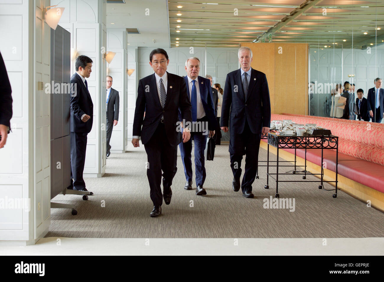 Japanese Foreign Minister Kishida the Grand Prince Hotel Before the First Working Session of the G7 Ministerial - Stock Image