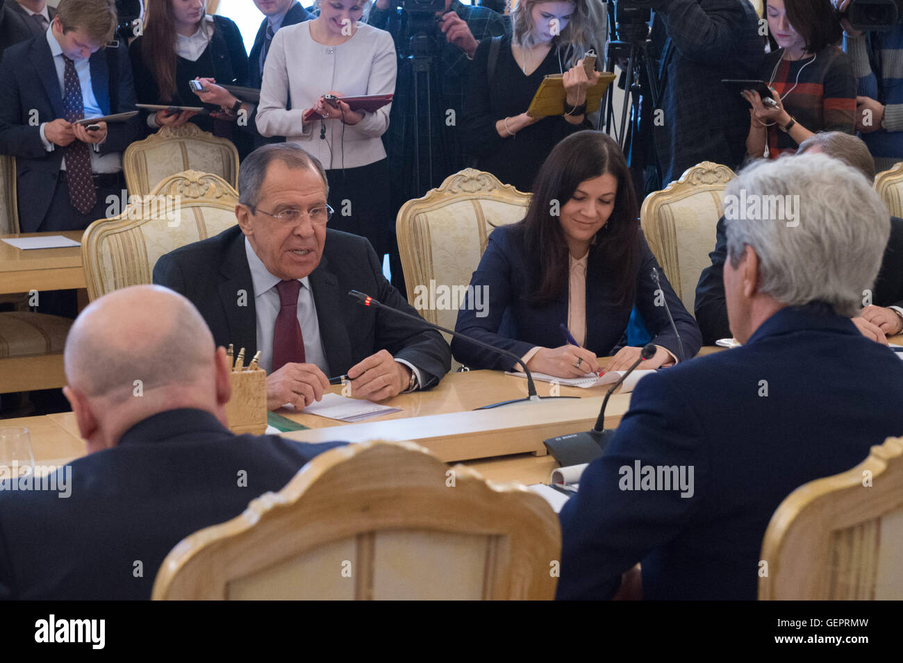 Russian Foreign Minister Lavrov Speaks With Secretary Kerry in Moscow - Stock Image