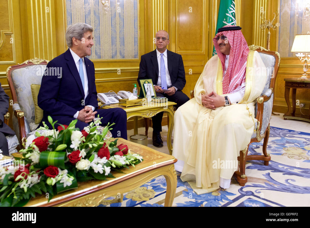 Secretary John Kerry Sits With Crown Prince Muhammad bin Nayef - Stock Image