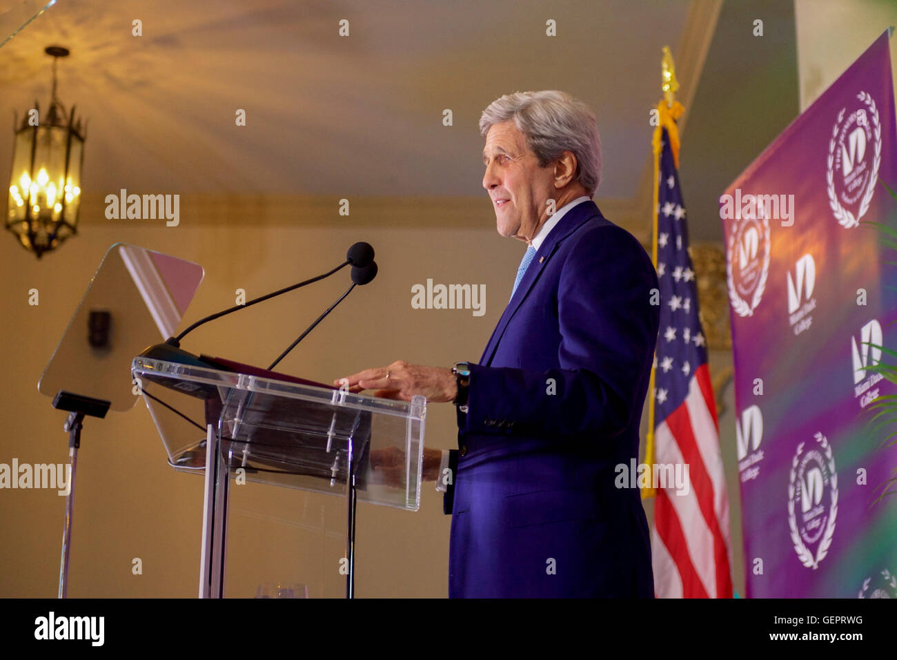 Secretary Kerry Addresses Miami Dade College Honors Graduates During a Day Trip to the City - Stock Image