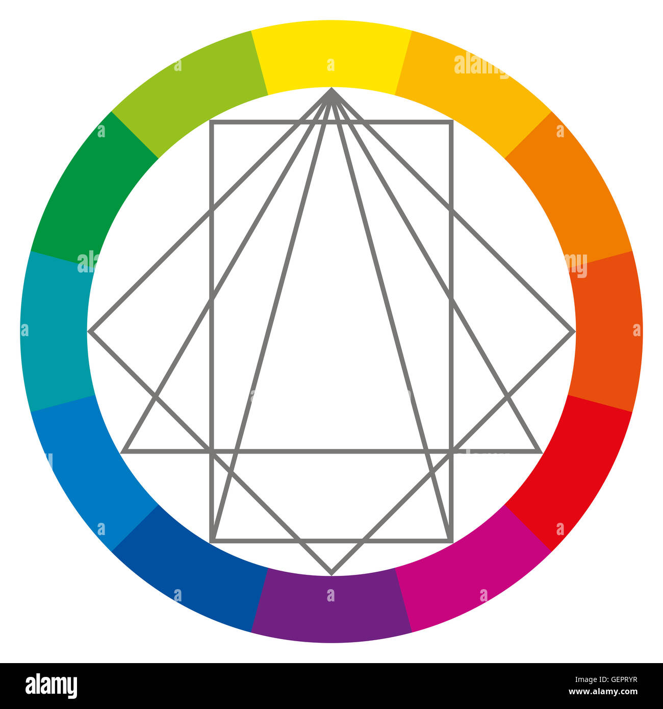 color wheel showing complementary colors that are used in art and