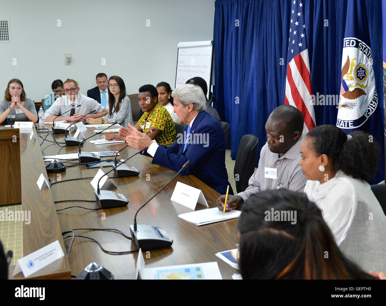 Secretary Kerry Delivers Remarks at the U.S. Diplomacy Center's Diplomatic Simulation for World Refugee Day - Stock Image