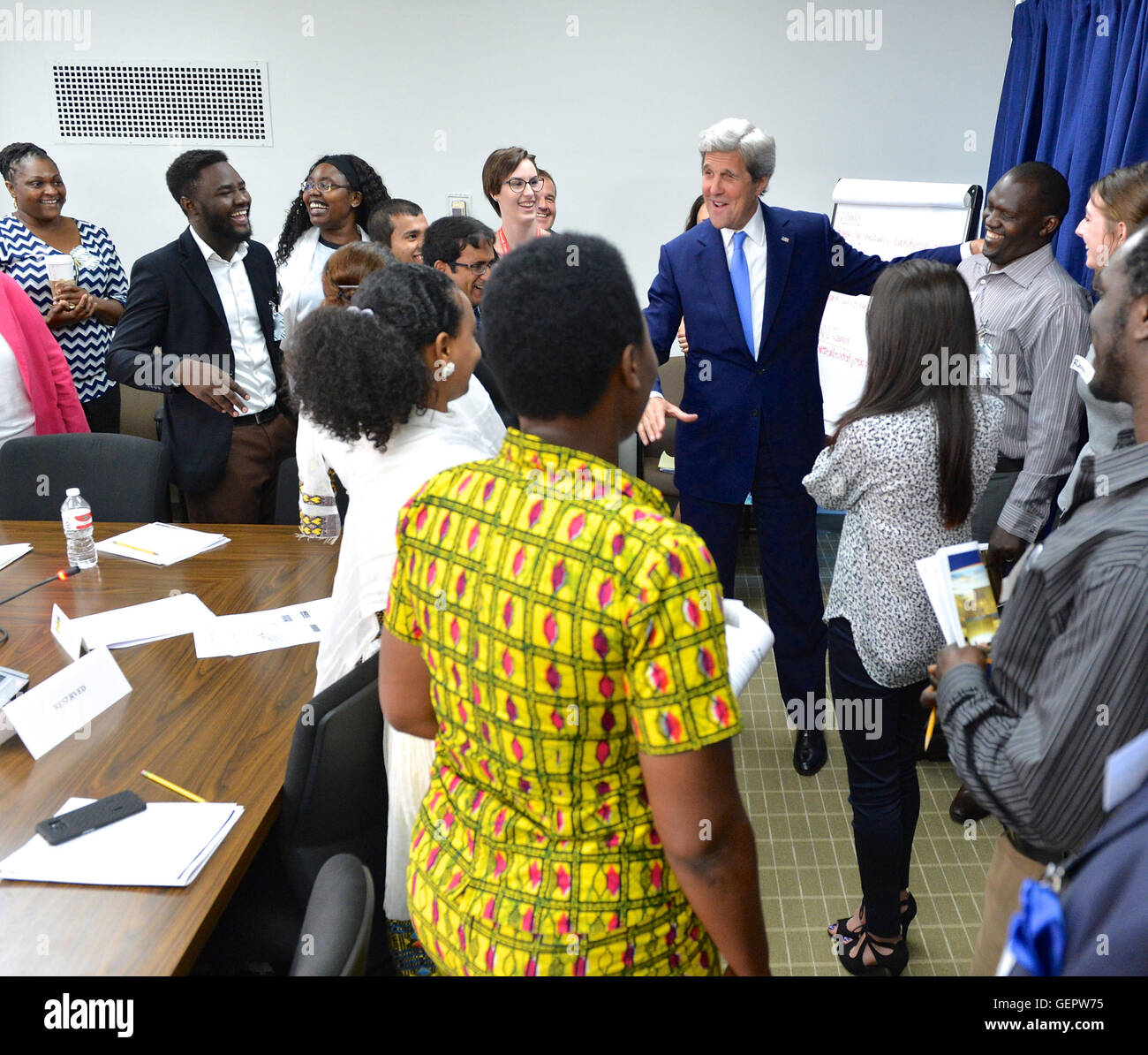 Secretary Kerry Meets With College Students During the U.S. Diplomacy Center Refugee Simulation in Washington - Stock Image