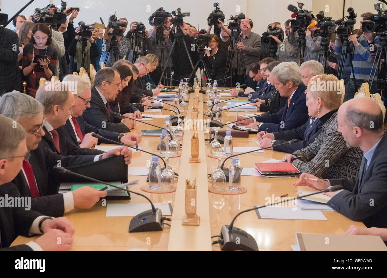 Secretary Kerry Meets With Russian Foreign Minister Lavrov in Moscow - Stock Image