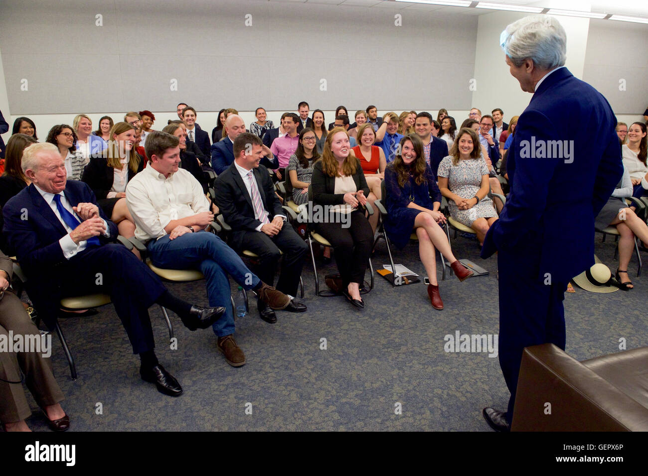 Secretary Kerry Speaks With Students at the LBJ School of Public Affairs at the University of Texas at Austin Stock Photo