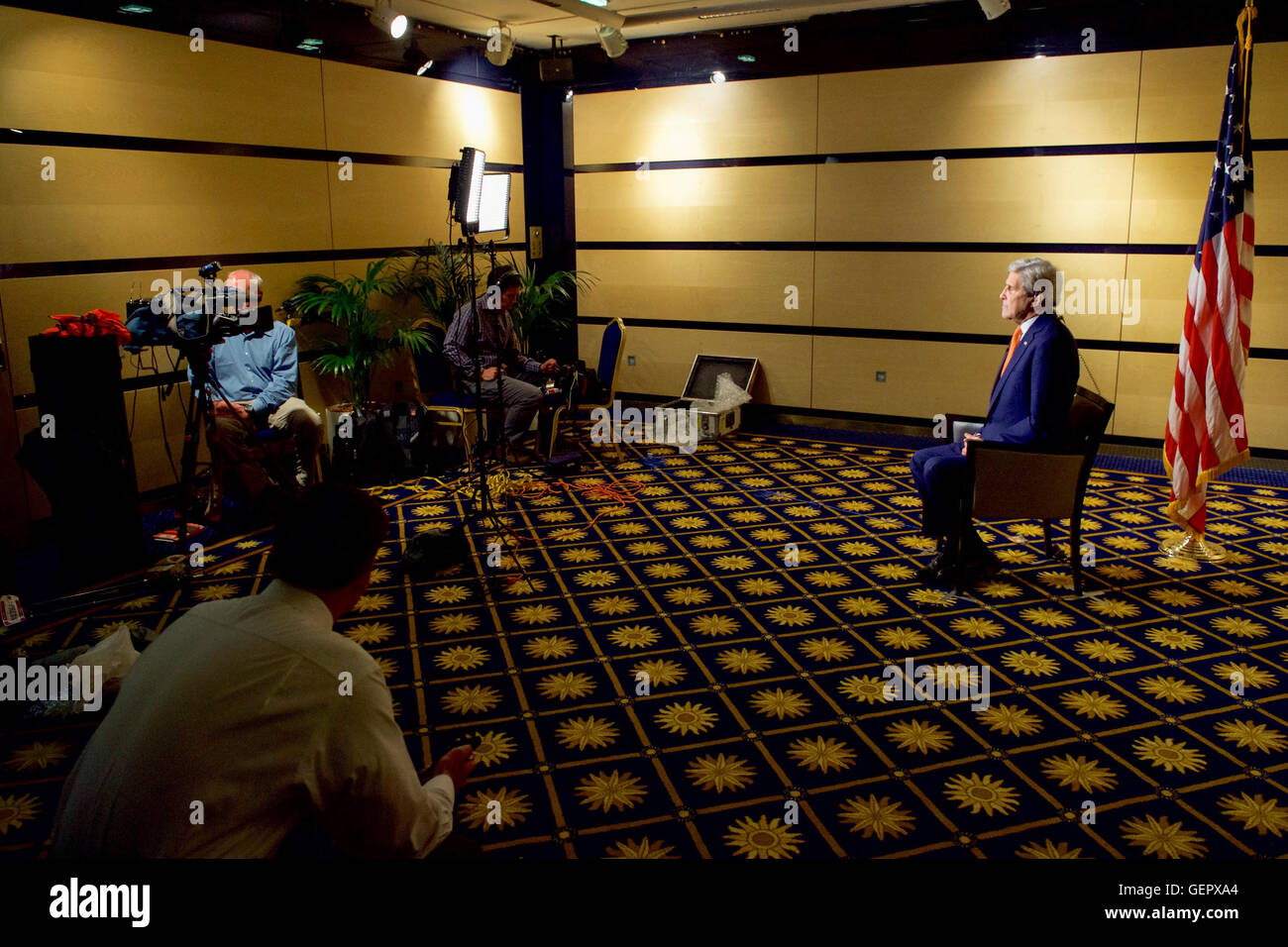 Secretary Kerry Tapes a Series of Sunday Television Talk Show Appearances - Stock Image