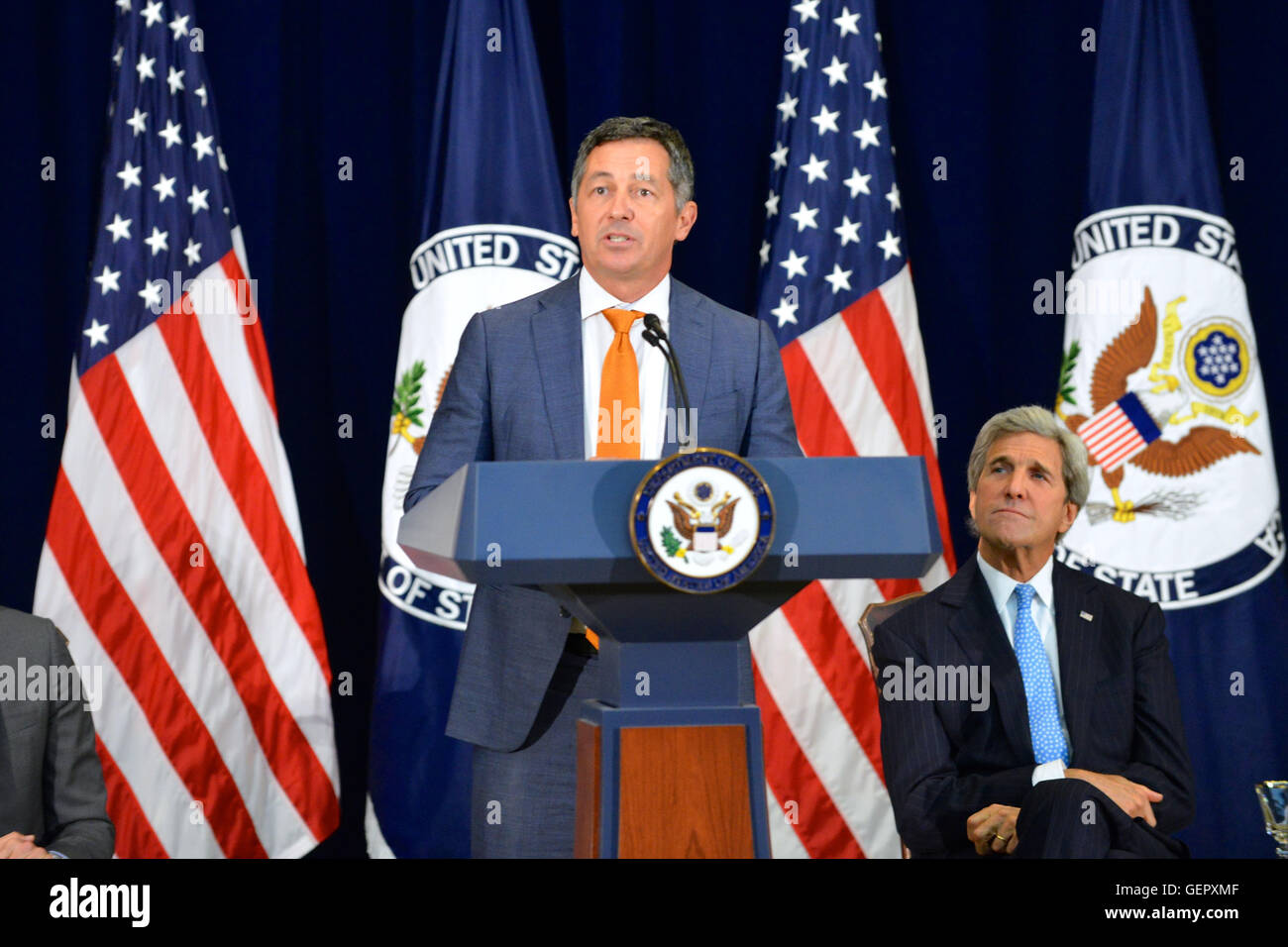 Special Envoy Berry Delivers Remarks at the State Department's 'Pride at State' Event in Washington - Stock Image