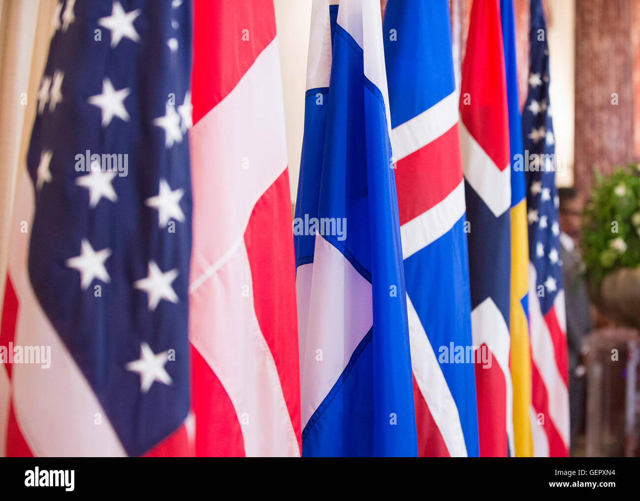 The Flags of Finland, Norway, Sweden, Denmark, and Iceland Are on Display at a Working Luncheon Secretary Kerry - Stock Image