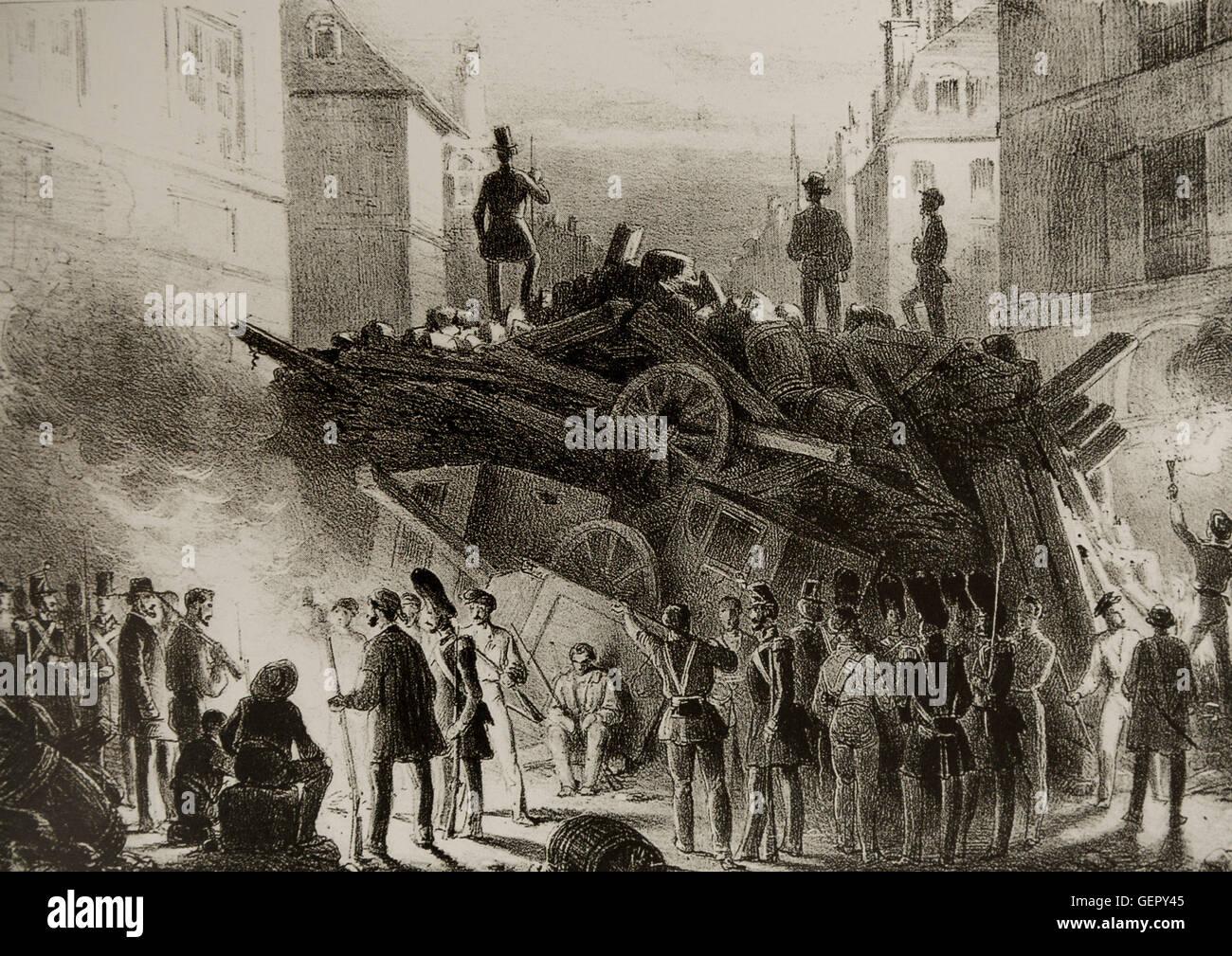 February Revolution France 1848. Barricade February 22, 24.
