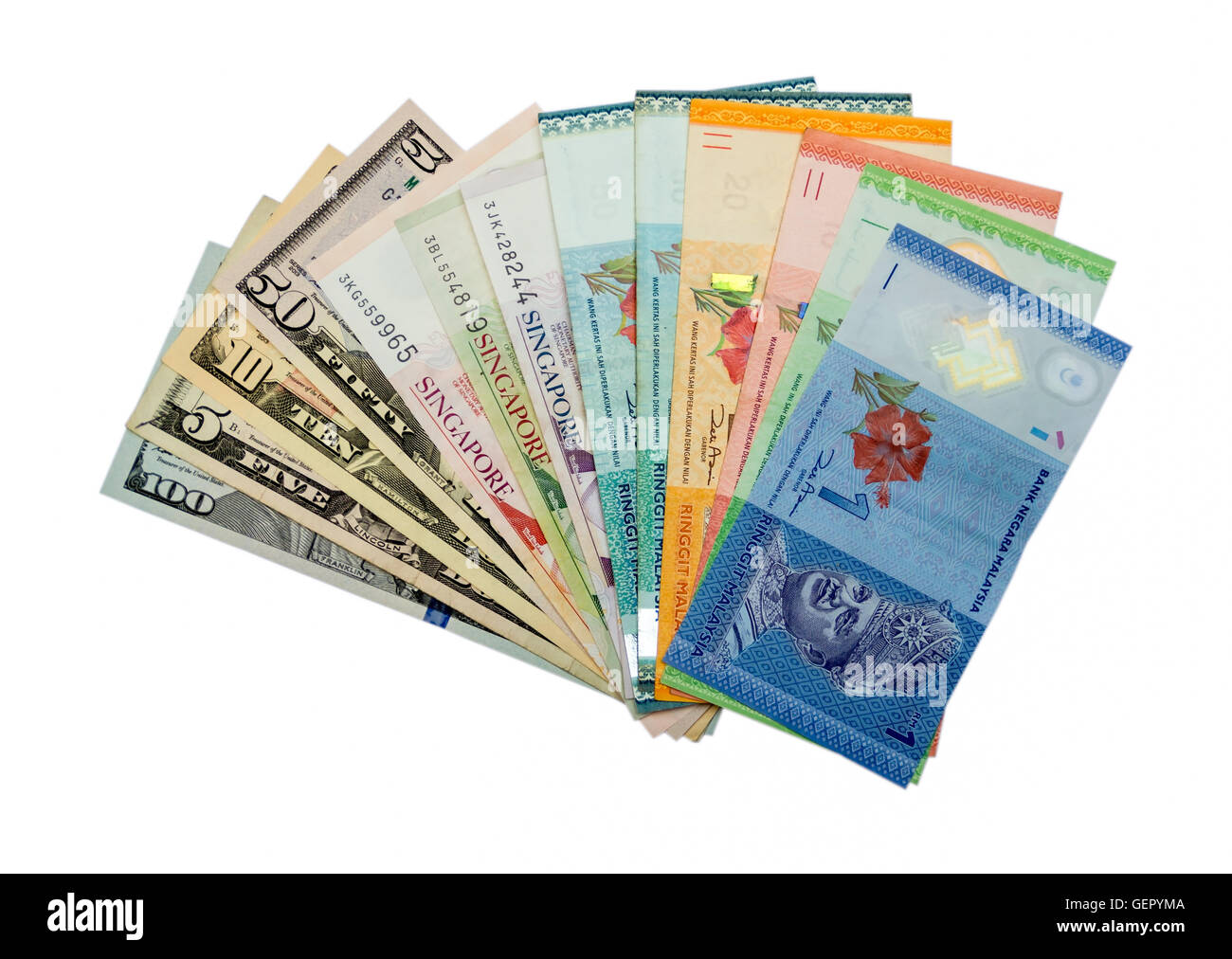 International currencies  us dollers, singapore dollers, ringgit malaysia - Stock Image