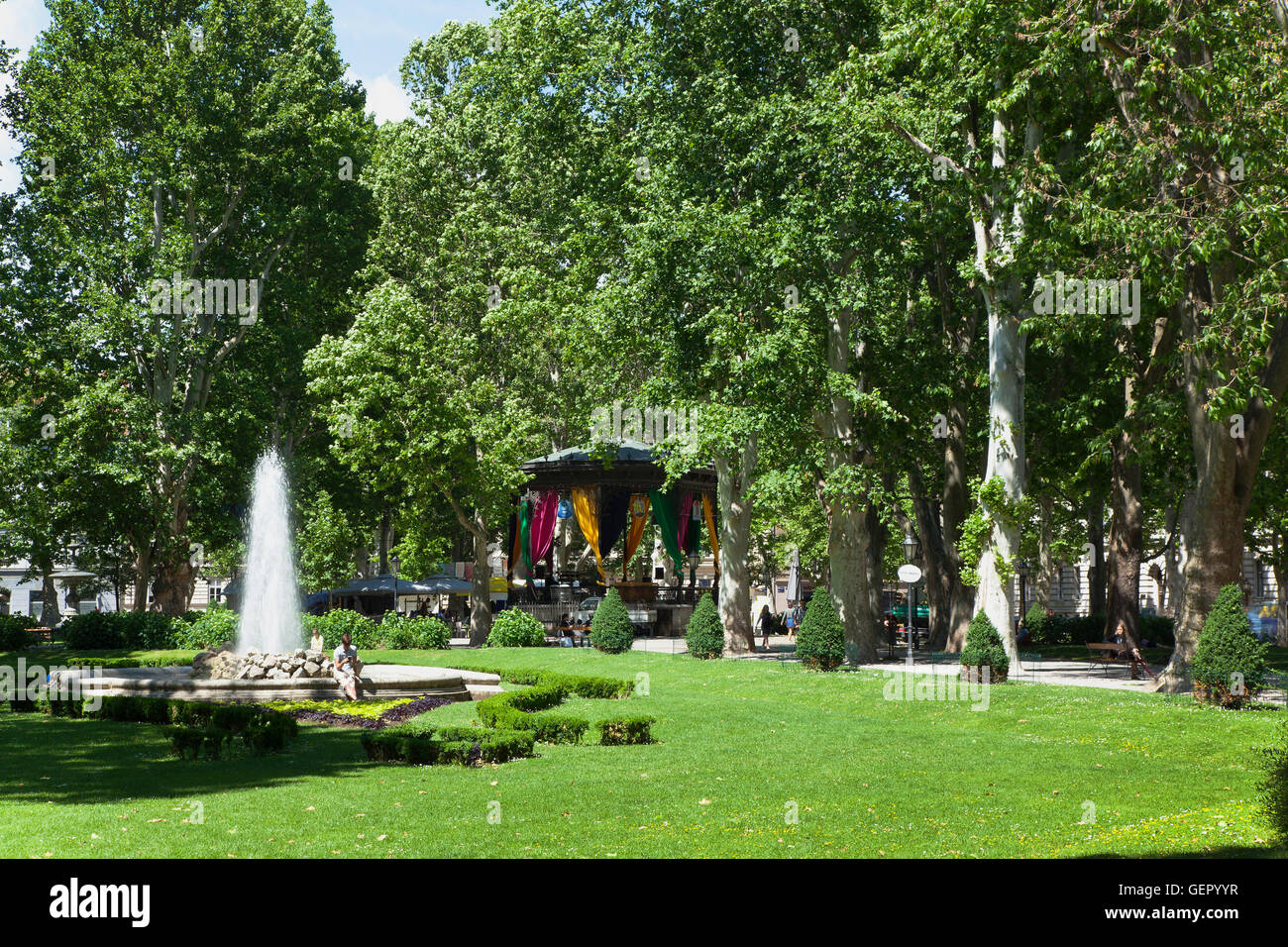 Croatia Zagreb Old Town Fountain And Bandstand In Park Zrinjevac Stock Photo Alamy