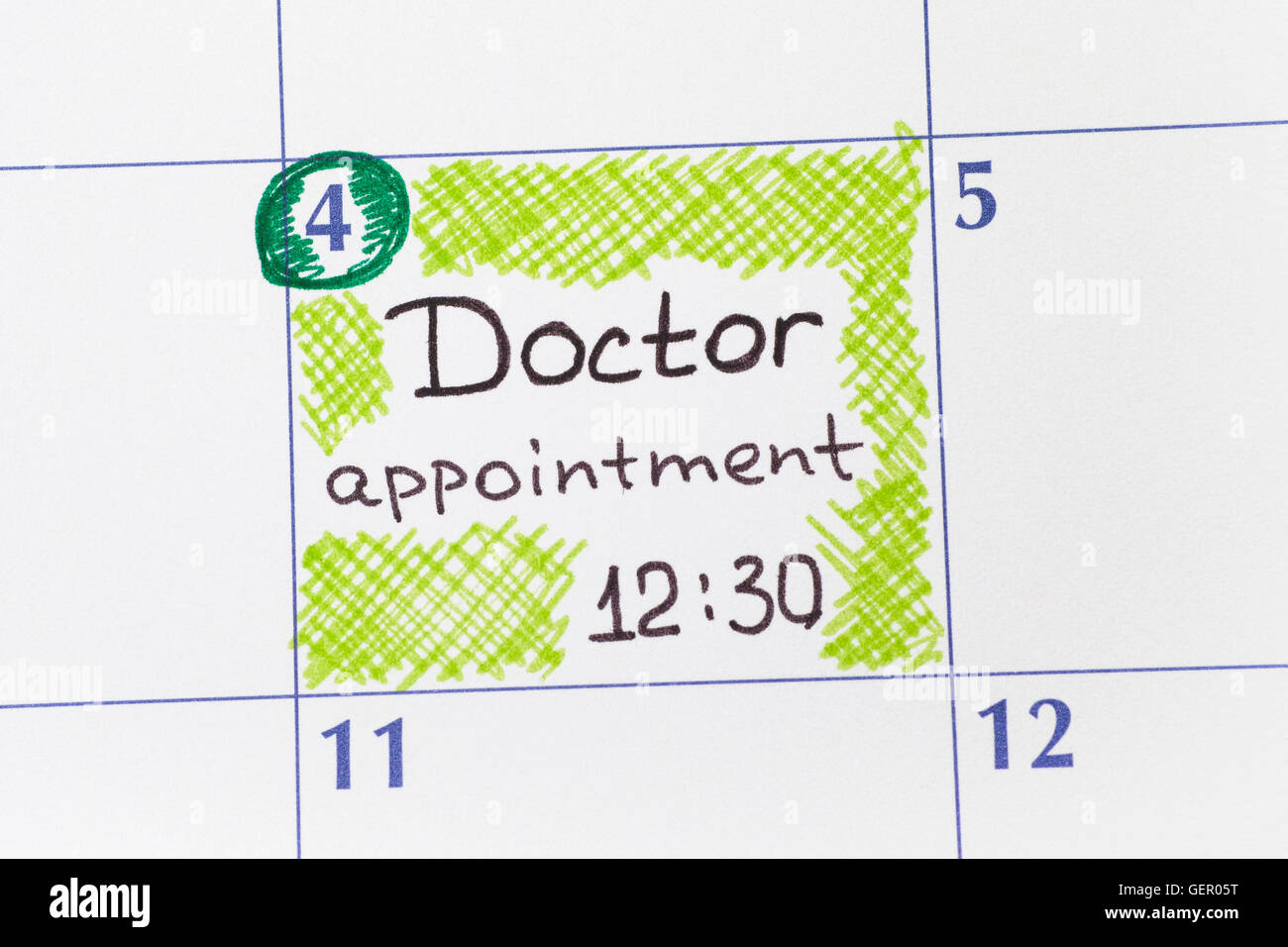 Reminder Doctor appointment 12-30 in calendar. - Stock Image