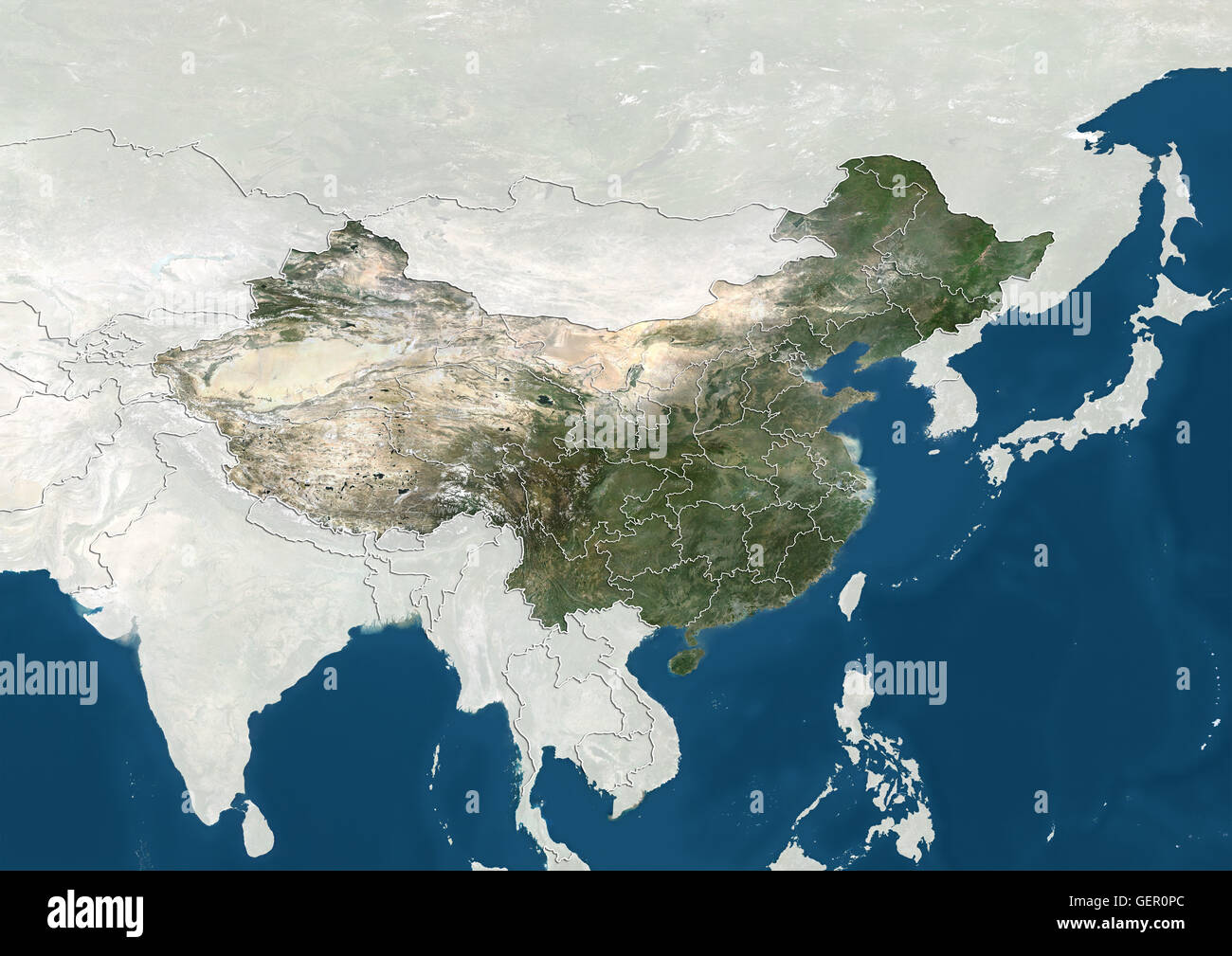 Satellite view of China with boundaries of provinces. This image was compiled from data acquired by Landsat satellites. - Stock Image
