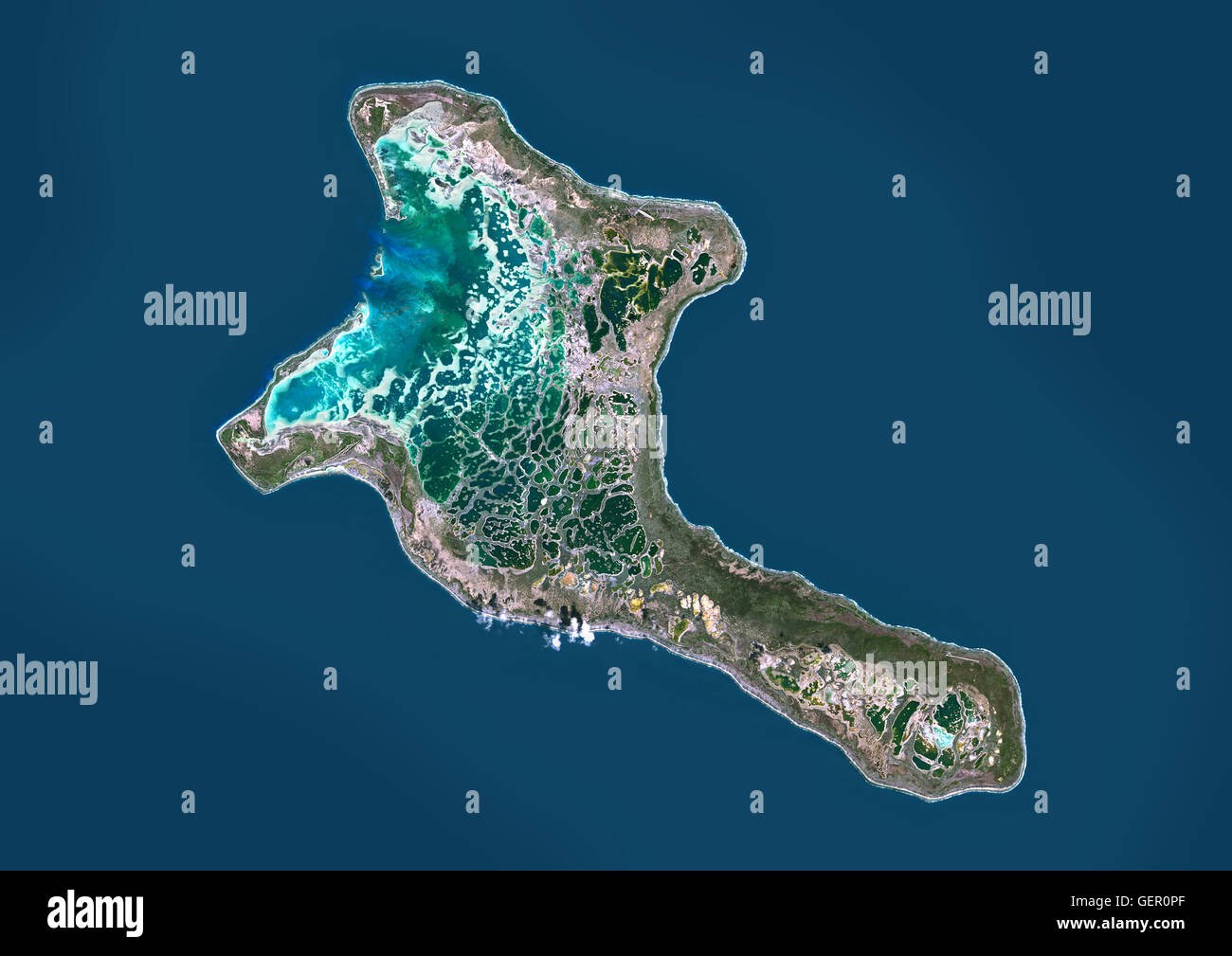 Satellite view of Christmas Island, Kiribati. This image was ...