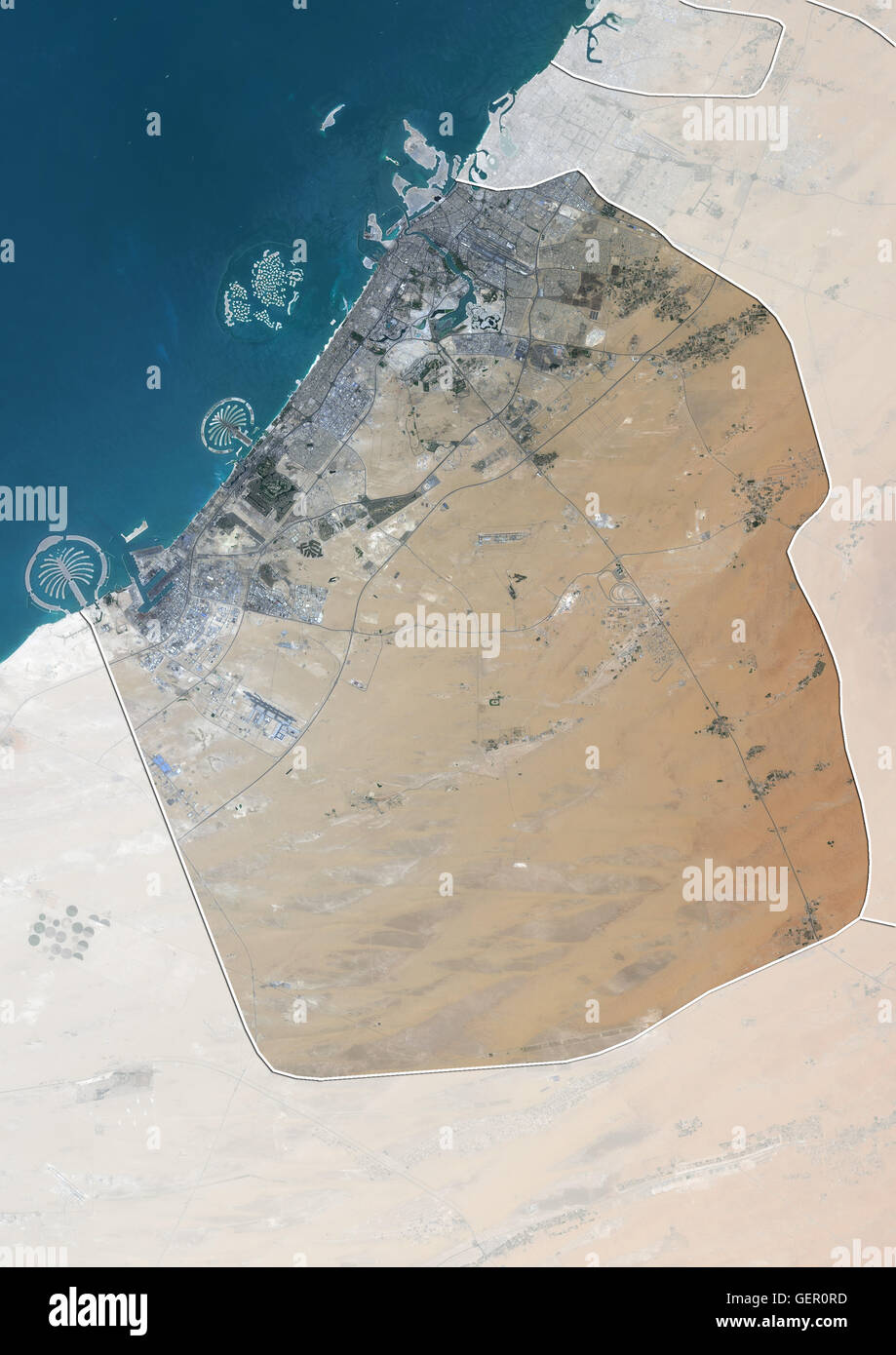 Satellite view of the emirate of dubai united arab emirates with satellite view of the emirate of dubai united arab emirates with country boundaries and mask the image shows palm jebel ali palm jumeirah and the world gumiabroncs Images