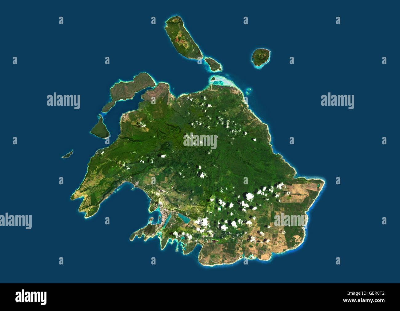 Satellite view of Efate, Vanuatu. It is the most populous island of Vanuatu archipelago. This image was compiled - Stock Image