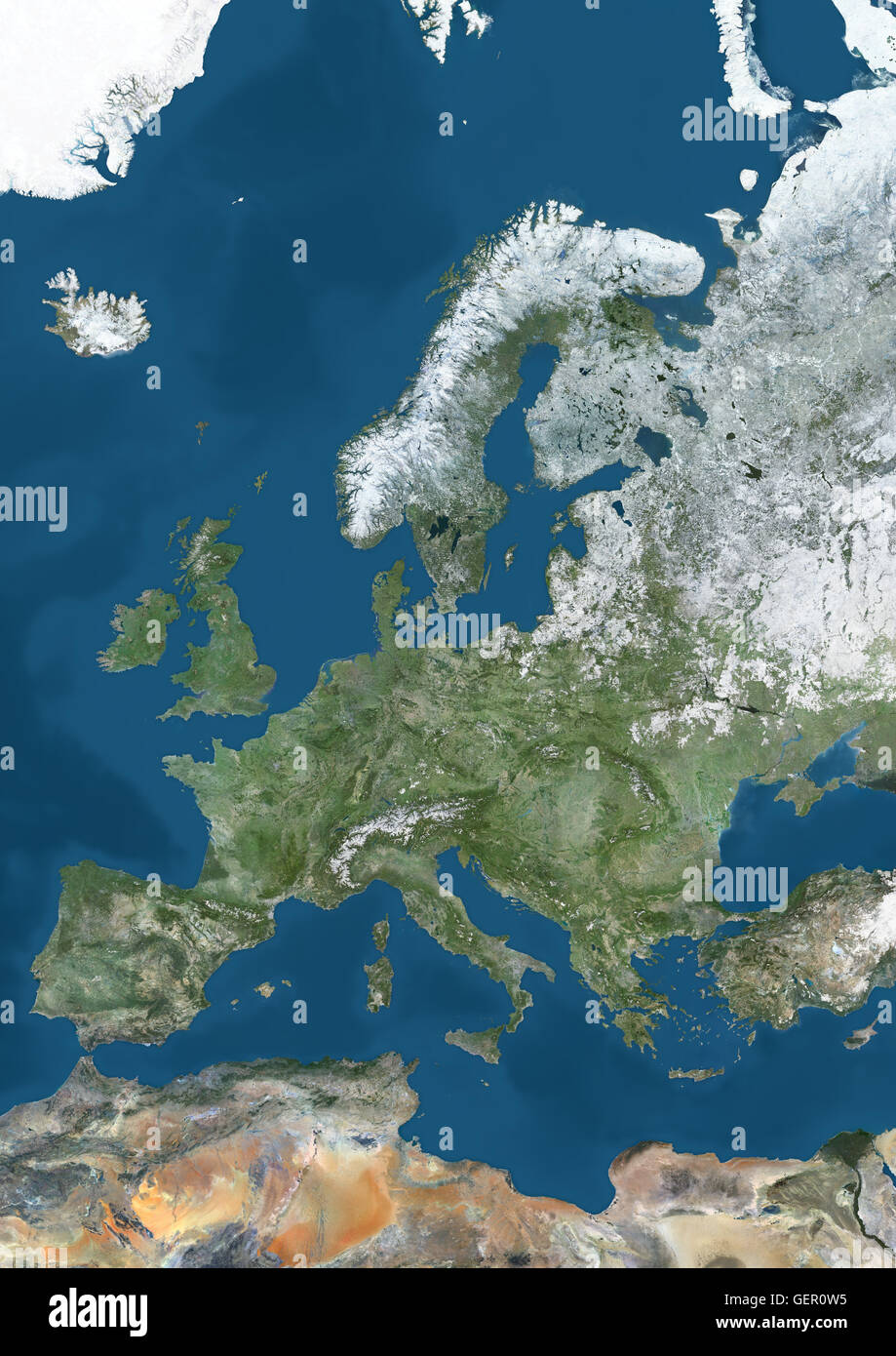Snow Map Europe.Satellite View Of Europe In Winter With Partial Snow Cover This