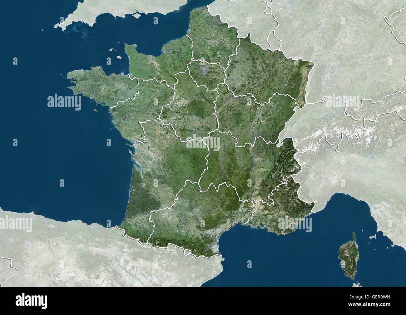 Satellite view of france with new region boundaries this map shows satellite view of france with new region boundaries this map shows the twelve metropolitan regions as of 2016 this image was compiled from data acquired gumiabroncs Images