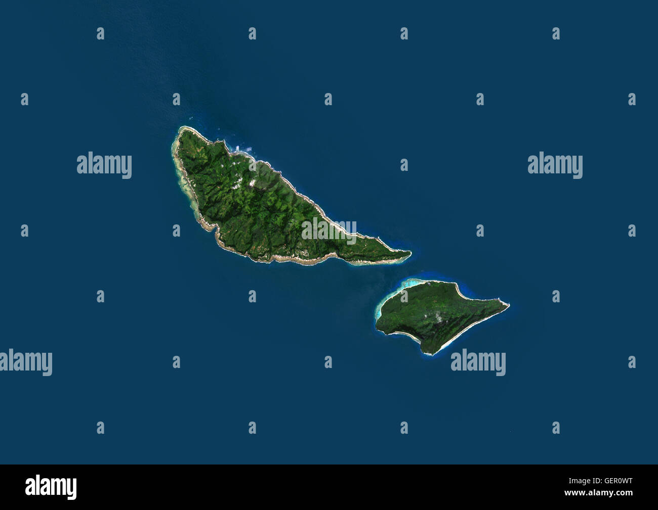 Satellite view of Futuna and Alofi Islands, part of Wallis and Futuna islands. This image was compiled from data - Stock Image