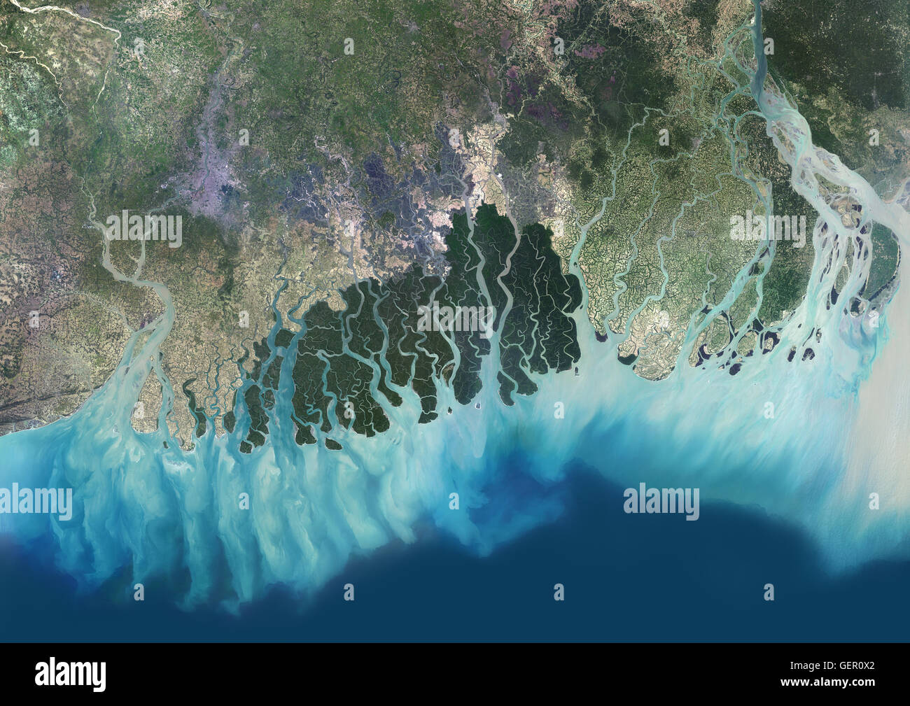 Satellite view of the Ganges River Delta, Bangladesh, India. Also ...