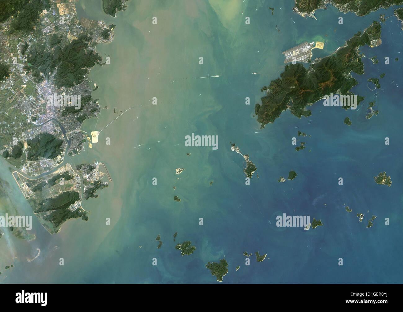 Satellite view of Hong Kong and Macau. The Hong Kong–Zhuhai–Macau Bridge which consists of a series of bridges and - Stock Image