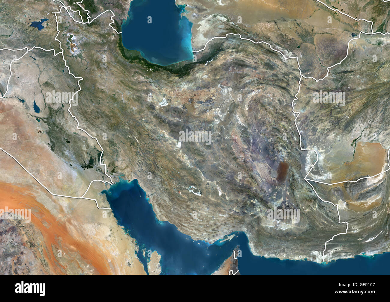Satellite view of Iran with country boundaries