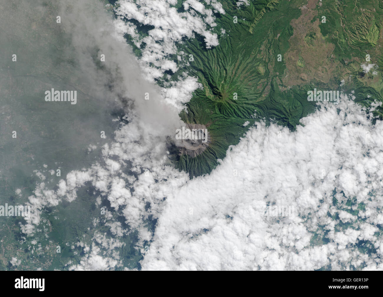 Satellite view of Mount Raung, one of the most active volcanoes on the island of Java in Indonesia. This image was - Stock Image