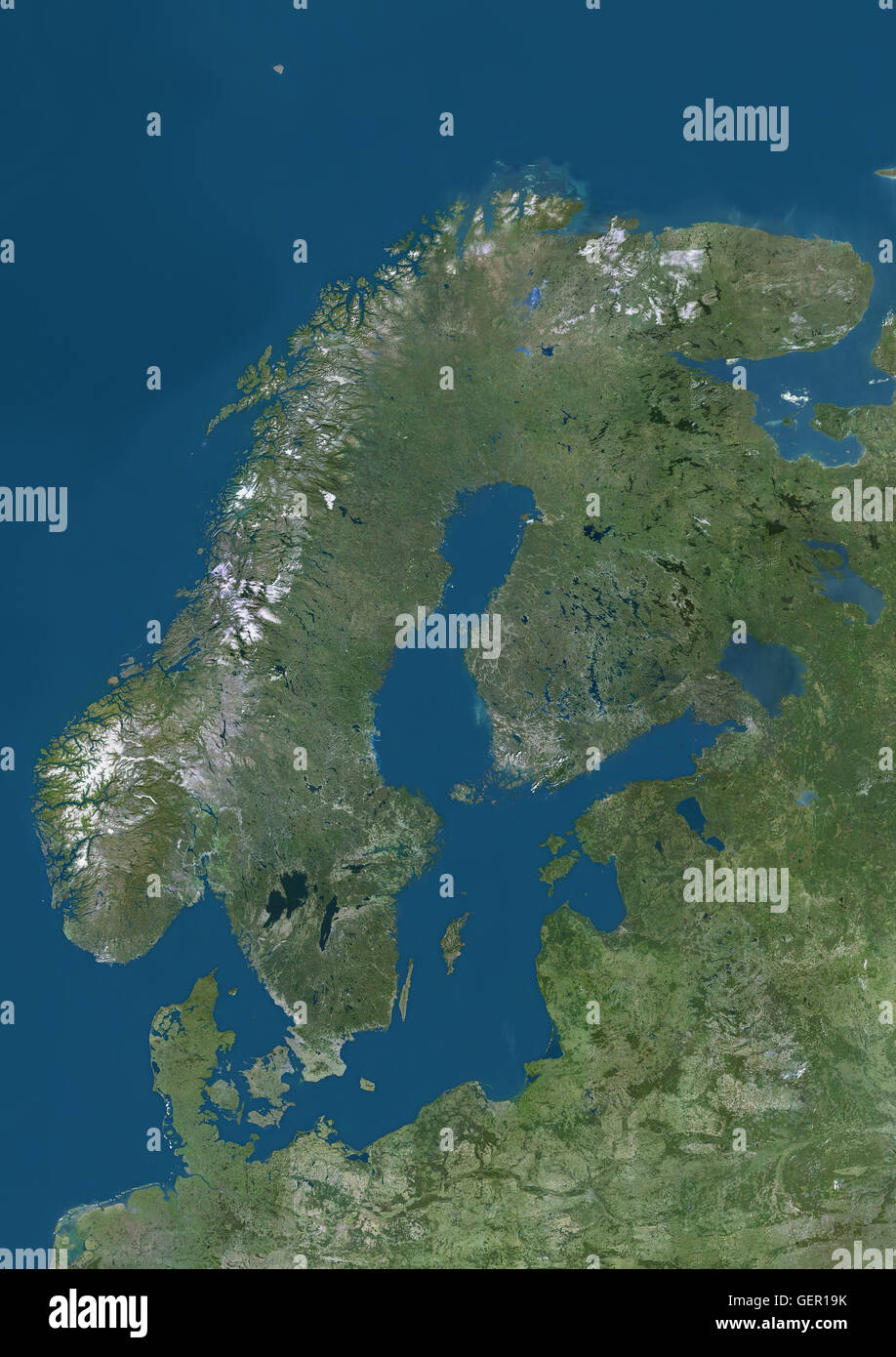 Satellite view of Northern Europe showing Scandinavia and the Baltic States. This image was compiled from data acquired Stock Photo