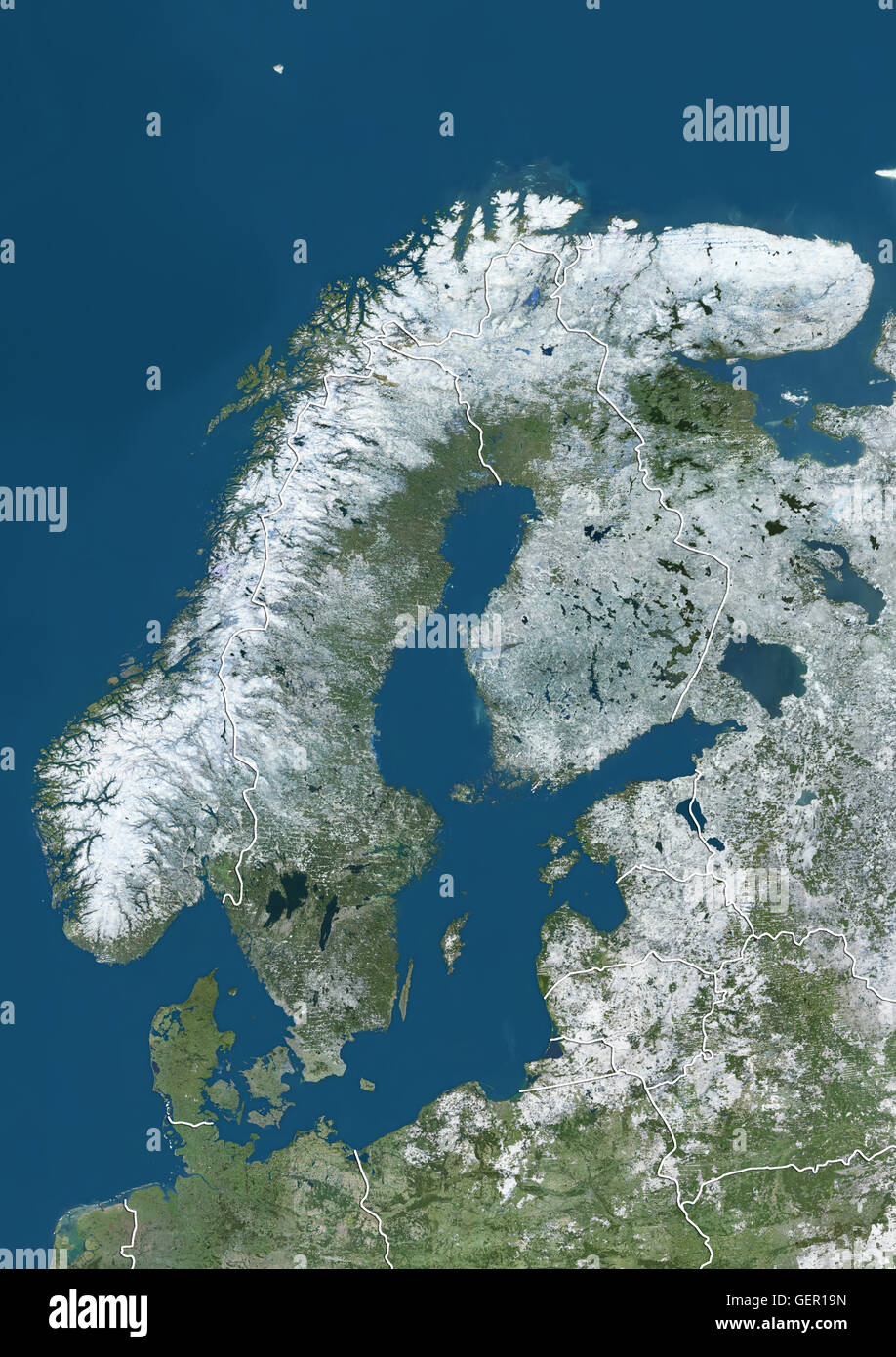 Snow Cover Map Europe.Satellite View Of Northern Europe Showing Scandinavia And The Baltic