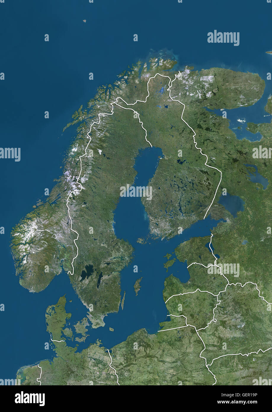 Satellite view of Northern Europe showing Scandinavia and the Baltic States (with country boundaries). This image Stock Photo
