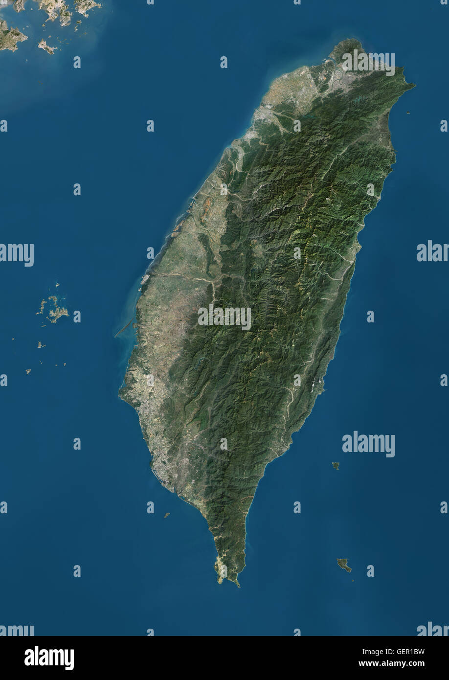 Satellite view of Taiwan. This image was compiled from data acquired by Landsat satellites. - Stock Image
