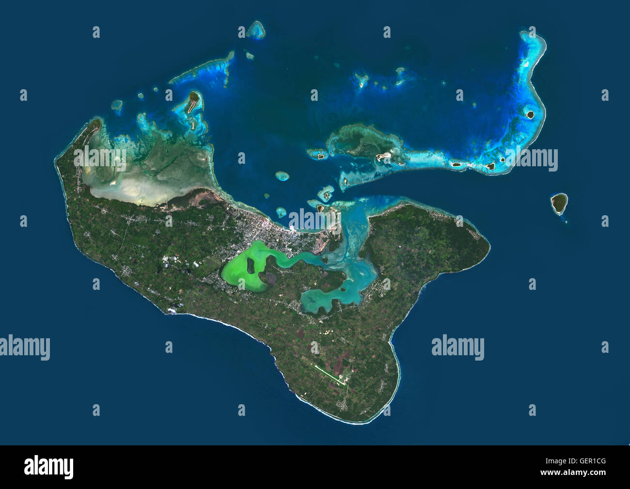 Satellite view of Tongatapu, the largest island of Tonga archipelago. This image was compiled from data acquired - Stock Image
