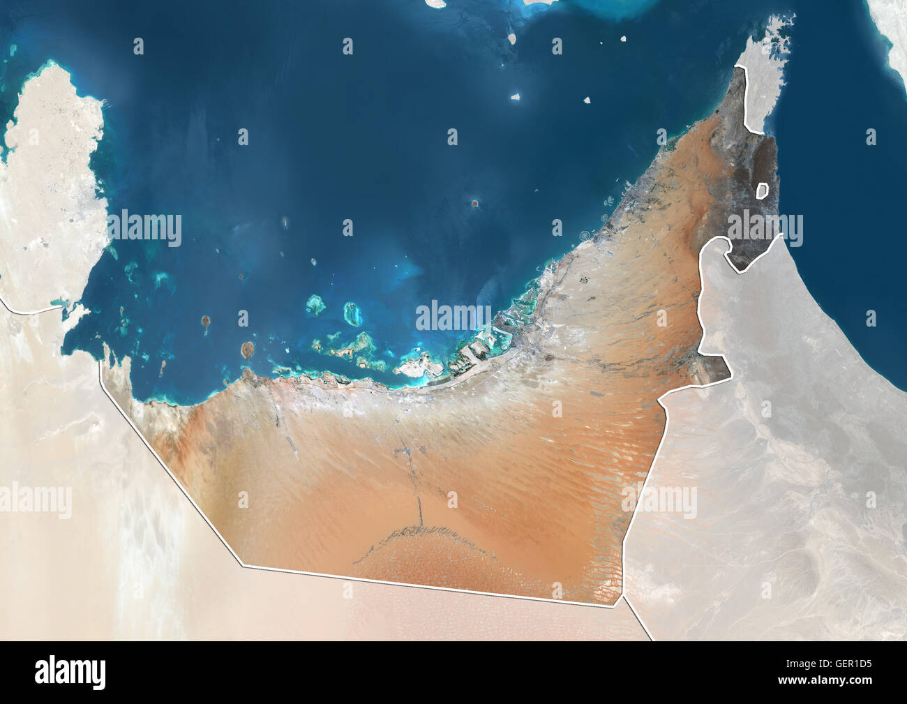 satellite view of the united arab emirates with country boundaries and mask the image shows the emirates of dubai sharjah ajman umm al quwain
