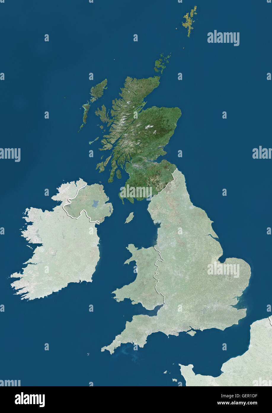 Satellite view of Scotland, UK (with country boundaries and