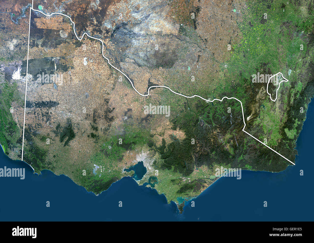 satellite view of victoria australia with administrative boundaries this image was compiled from data acquired by landsat 8 satellite in 2014
