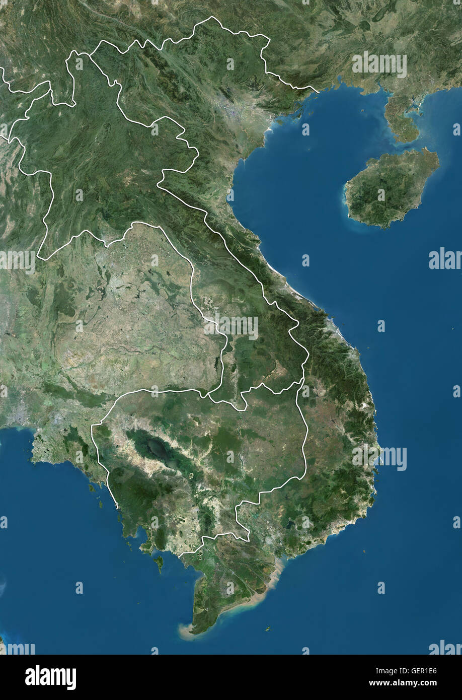 Satellite view vietnam stock photos satellite view vietnam stock satellite view of vietnam cambodia and laos with country boundaries this image publicscrutiny Gallery