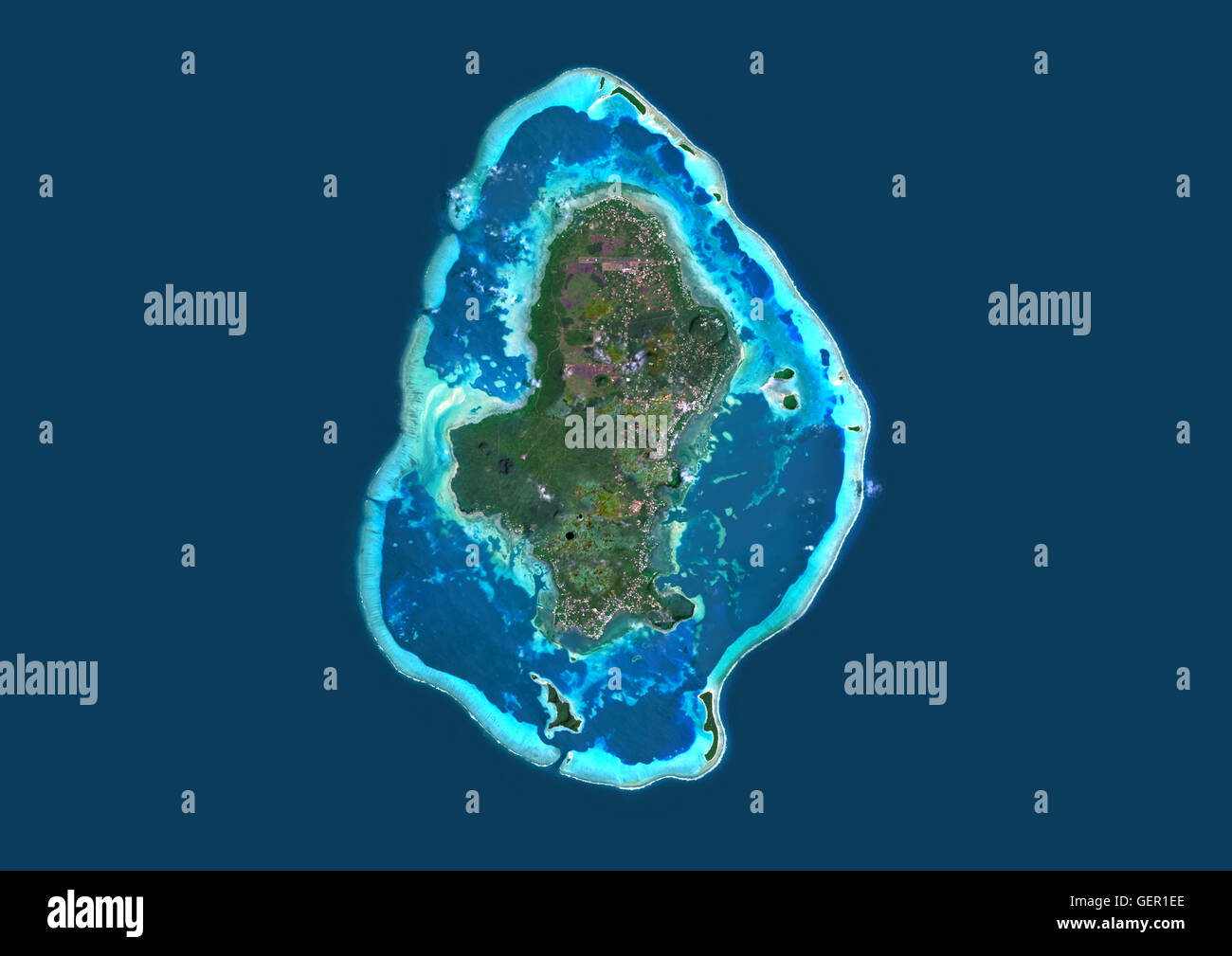 Satellite view of Wallis Island, part of Wallis and Futuna Islands. This image was compiled from data acquired by - Stock Image
