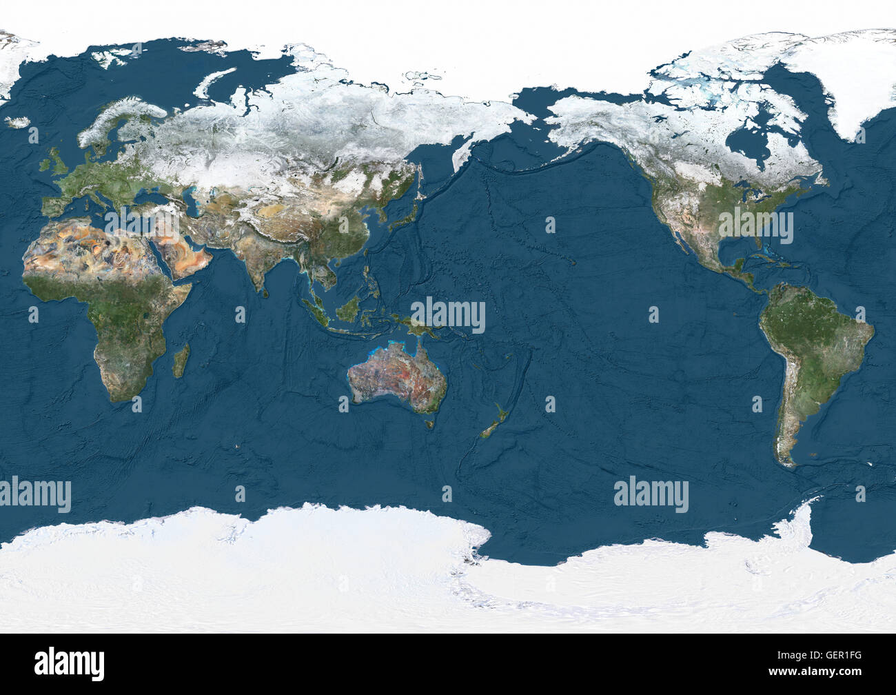 Map Of The World Satellite.World Satellite Map Pacific Centred In Winter With Partial Snow